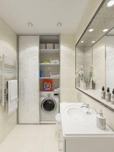 Стиральная машина в шкуфу ванной